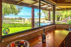 Margaret River Region beach view from beachfront beach house kitchen